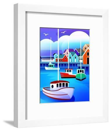 Harbor with Fishing Boats--Framed Art Print