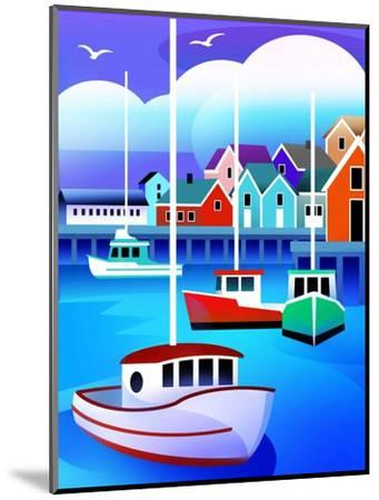 Harbor with Fishing Boats--Mounted Art Print