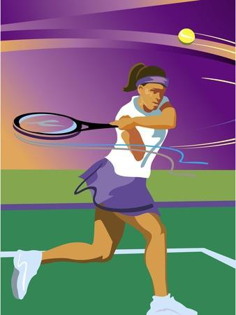 A Female Tennis Player Swinging at a Tennis Ball--Stretched Canvas Print