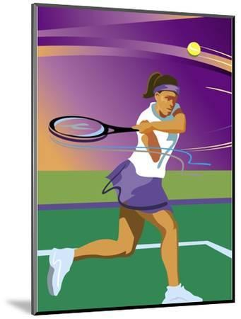 A Female Tennis Player Swinging at a Tennis Ball--Mounted Art Print