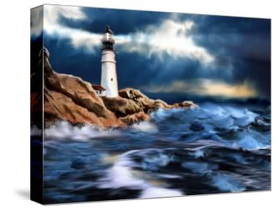Lighthouse and Stormy Seas--Stretched Canvas Print