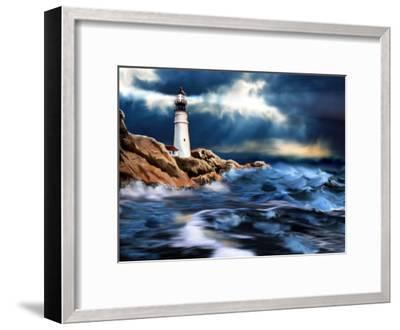 Lighthouse and Stormy Seas--Framed Art Print