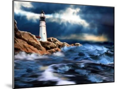 Lighthouse and Stormy Seas--Mounted Art Print
