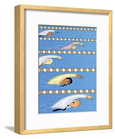 Businesspeople Swimming in Competition--Framed Art Print