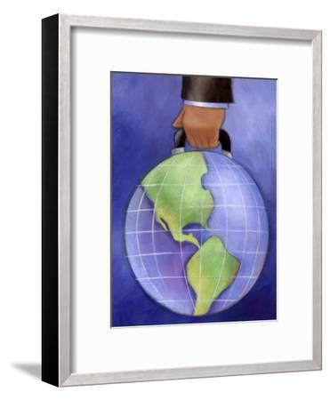 Businessman's Hand Carrying World Globe by Handle--Framed Art Print