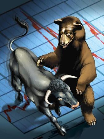 Bull and Bear Fighting--Stretched Canvas Print