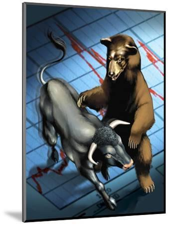Bull and Bear Fighting--Mounted Art Print