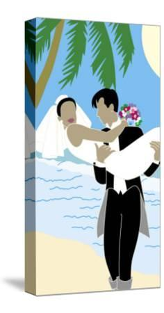 Groom Carrying Bride Along the Ocean, Grouped Elements--Stretched Canvas Print