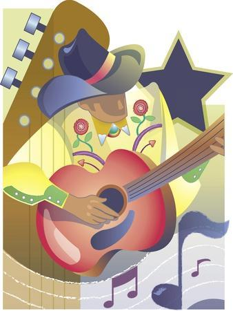 An Abstract of a Male Country-Western Musician Playing an Acoustic Guitar--Stretched Canvas Print