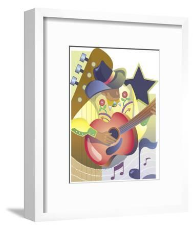 An Abstract of a Male Country-Western Musician Playing an Acoustic Guitar--Framed Art Print