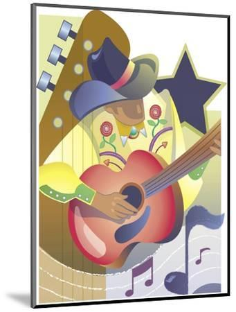An Abstract of a Male Country-Western Musician Playing an Acoustic Guitar--Mounted Art Print