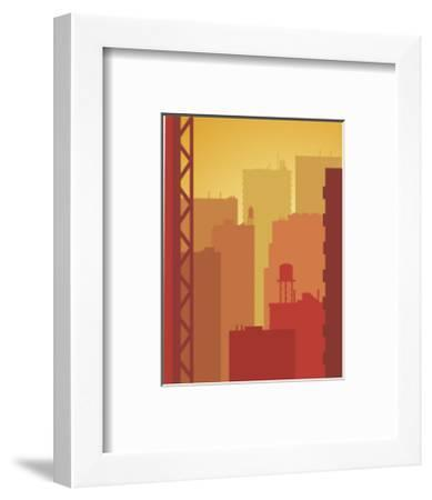 Texture, City Skyline--Framed Art Print