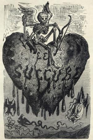 The Demonic Entity of the Succubus Portrayed as a Skeleton on a Bleeding Heart-Gustave Dor?-Stretched Canvas Print