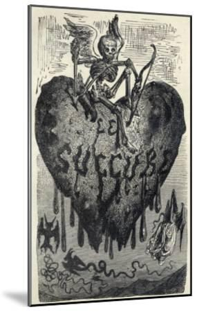 The Demonic Entity of the Succubus Portrayed as a Skeleton on a Bleeding Heart-Gustave Dor?-Mounted Giclee Print