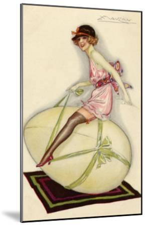 Lightly-Dressed Girl Riding an Egg-Luciano Achille-Mounted Giclee Print
