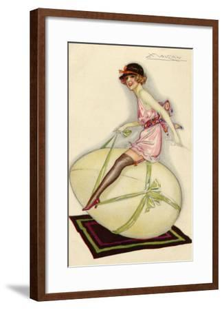 Lightly-Dressed Girl Riding an Egg-Luciano Achille-Framed Giclee Print