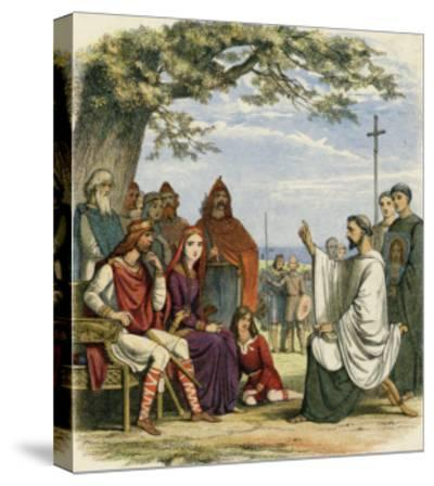 Augustine Preaching Christianity to Ethelbert 1 King of England-James Doyle-Stretched Canvas Print
