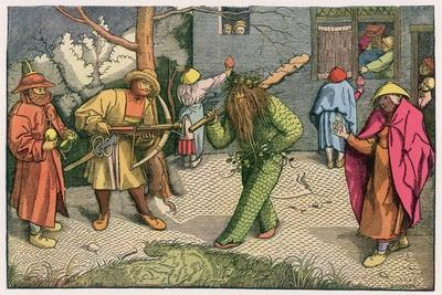 The Green Man Depicted as One of a Group of Shrovetide Characters in 16th Century Holland-Pieter Bruegel the Elder-Stretched Canvas Print