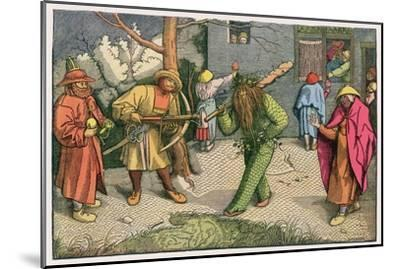 The Green Man Depicted as One of a Group of Shrovetide Characters in 16th Century Holland-Pieter Bruegel the Elder-Mounted Giclee Print