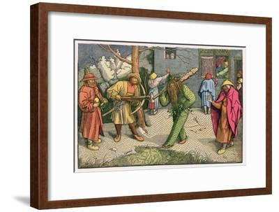 The Green Man Depicted as One of a Group of Shrovetide Characters in 16th Century Holland-Pieter Bruegel the Elder-Framed Giclee Print