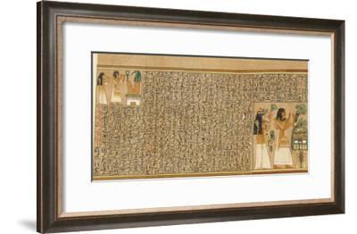 Book of the Dead: Ani and His Wife Tutu Adoring Thoth-E^a^ Wallis Budge-Framed Giclee Print