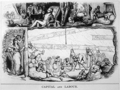 Capital and Labour, Satire on the Class System-James Doyle-Stretched Canvas Print