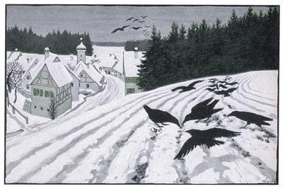 Crows Search for Food in the Snow in Fields on the Outskirts of a German Village-Walther Georgi-Stretched Canvas Print