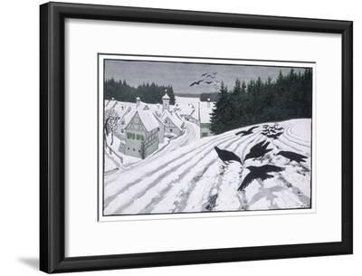 Crows Search for Food in the Snow in Fields on the Outskirts of a German Village-Walther Georgi-Framed Giclee Print
