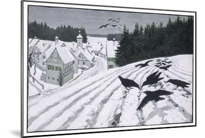 Crows Search for Food in the Snow in Fields on the Outskirts of a German Village-Walther Georgi-Mounted Giclee Print