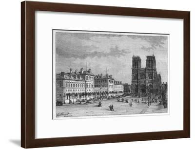 Hotel-Dieu Paris Ground-Level View of the Parvis De Notre-Dame with the Hospital on the Left-Hubert Clerget-Framed Giclee Print