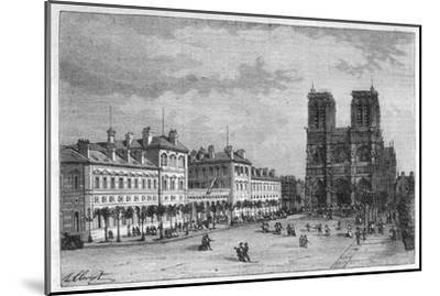Hotel-Dieu Paris Ground-Level View of the Parvis De Notre-Dame with the Hospital on the Left-Hubert Clerget-Mounted Giclee Print