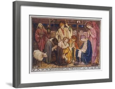 Encouraged by the Angels the Shepherds Come to Jesus' Cradle to Worship the Child-M^ Dibden-Framed Giclee Print