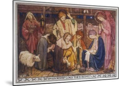 Encouraged by the Angels the Shepherds Come to Jesus' Cradle to Worship the Child-M^ Dibden-Mounted Giclee Print