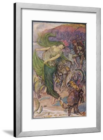 Sea-Lady Surrounded by Sea Creatures and a Young Man Playing Bagpipes-Henry Justice Ford-Framed Giclee Print