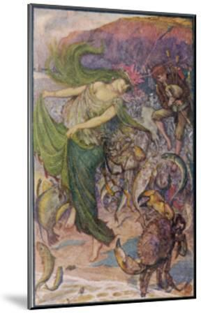 Sea-Lady Surrounded by Sea Creatures and a Young Man Playing Bagpipes-Henry Justice Ford-Mounted Giclee Print