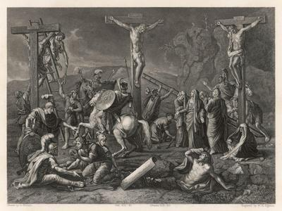 Mary Watches Soldiers Play Dice Jesus and His Companions Slowly Die- Egleton-Stretched Canvas Print