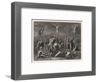 Mary Watches Soldiers Play Dice Jesus and His Companions Slowly Die- Egleton-Framed Giclee Print