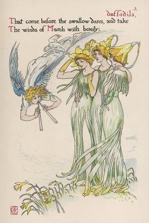 Daffodils Personified-Walter Crane-Stretched Canvas Print