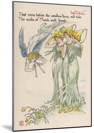 Daffodils Personified-Walter Crane-Mounted Giclee Print