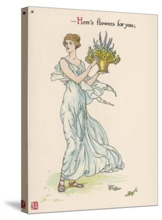 Heres Flowers for You!-Walter Crane-Stretched Canvas Print