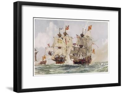 Thomas and Edward Howard are Sent by Henry VIII to Deal with the Scottish Captain Andrew Barton-Charles Dixon-Framed Giclee Print
