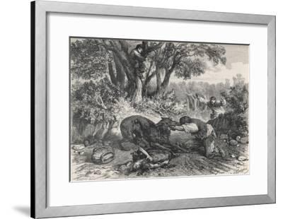 At La Rochette Three Country People Bitten by a Rabid Wolf Die in Agony-A. Ferdinandus-Framed Giclee Print