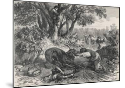 At La Rochette Three Country People Bitten by a Rabid Wolf Die in Agony-A. Ferdinandus-Mounted Giclee Print