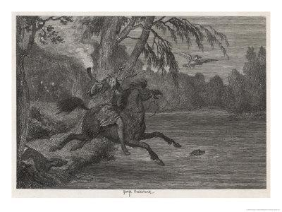 Herne the Hunter Herne the Hunter Plunges into the Lake-George Cruikshank-Framed Giclee Print