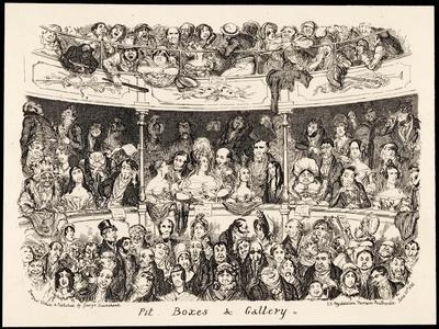 """""""Pit Boxes and Gallery"""" in a London Theatre-George Cruikshank-Stretched Canvas Print"""