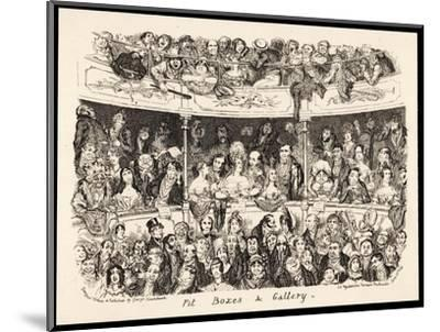"""""""Pit Boxes and Gallery"""" in a London Theatre-George Cruikshank-Mounted Giclee Print"""
