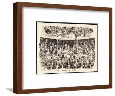 """""""Pit Boxes and Gallery"""" in a London Theatre-George Cruikshank-Framed Giclee Print"""