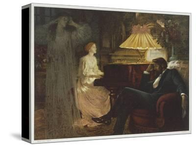 In a Reverie Induced by His Wife Playing the Piano He Hallucinates the Girl He Didn't Marry-Frank Bernard Dicksee-Stretched Canvas Print