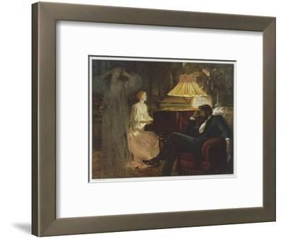 In a Reverie Induced by His Wife Playing the Piano He Hallucinates the Girl He Didn't Marry-Frank Bernard Dicksee-Framed Giclee Print