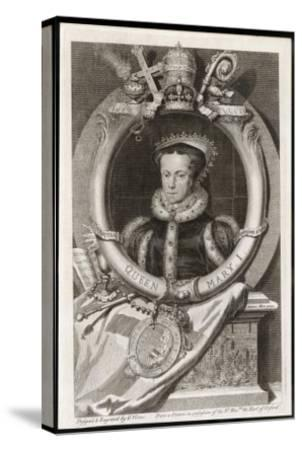 Mary Tudor Catholic Queen of England with the Motto Truth is the Daughter of Time-George Vertue-Stretched Canvas Print